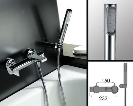 Loft Wall Mounted Bath Tap With Shower