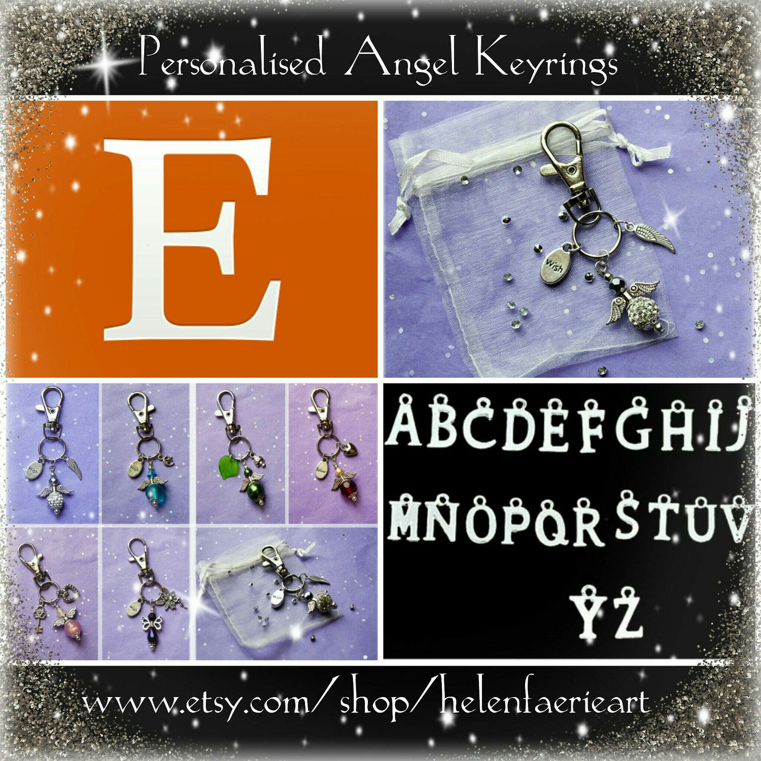 Personalise these little angel keyrings with your friends or loved ones initial x