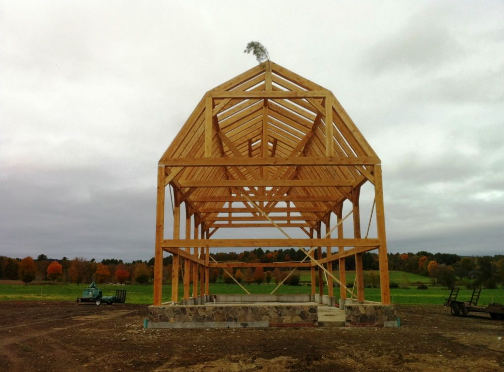 Gambrel barn frame post beam construction outhouse for Prefab gambrel roof trusses