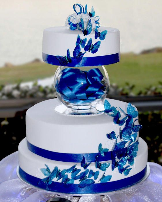 Wedding Cake Ideas Royal Blue: Blue Butterflies Wedding Cake