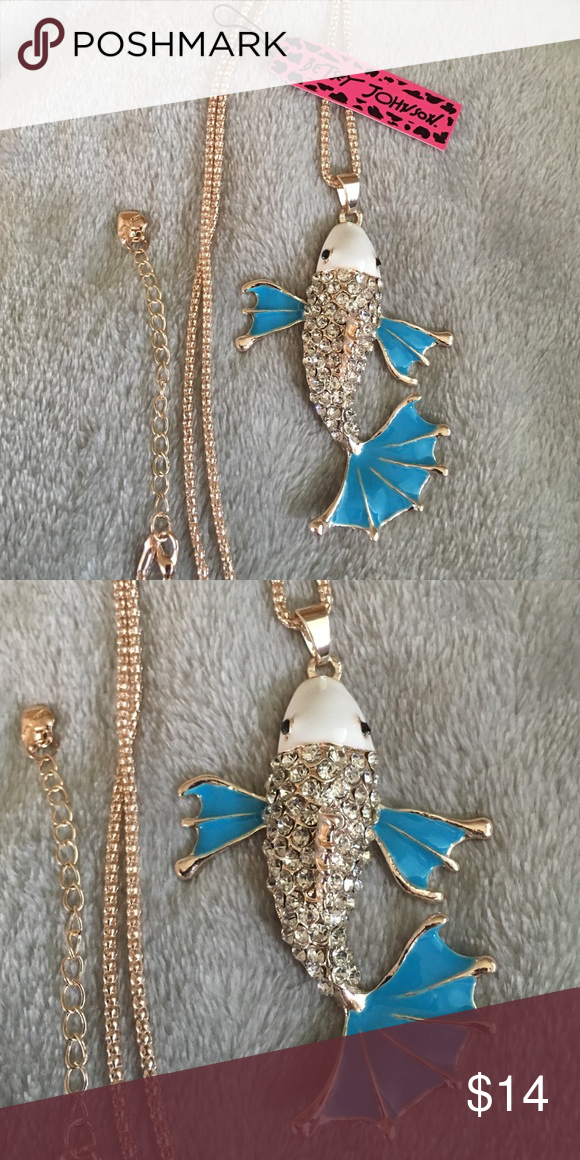 💕FUN💕 Rhinestone Fish Necklace Brand new with tag! Stunning rose gold tone necklace with blue & white enamel accented with silver! Betsey Johnson Jewelry Necklaces