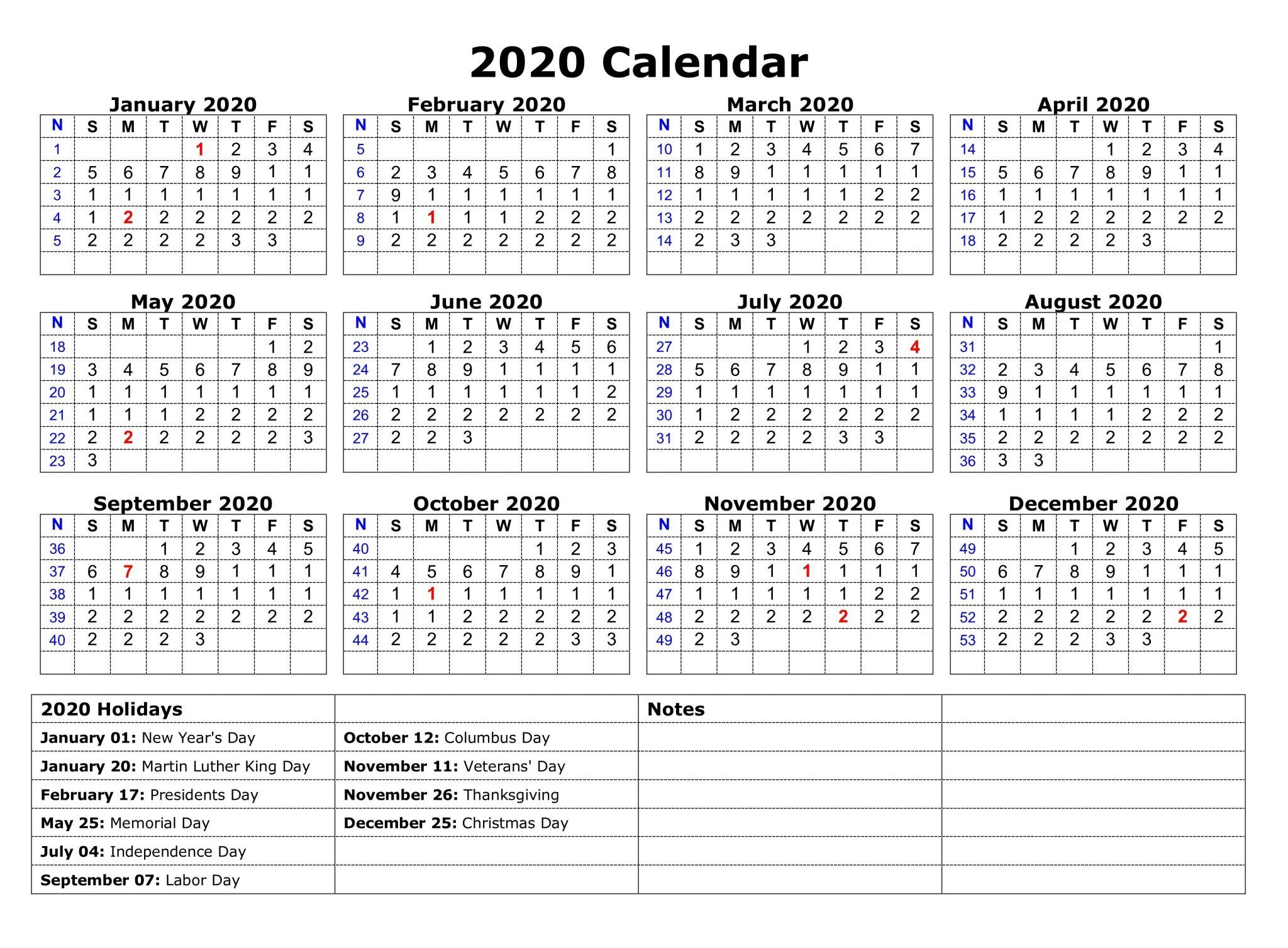 Free Yearly Printable Calendar 2020 With Holidays Monthly