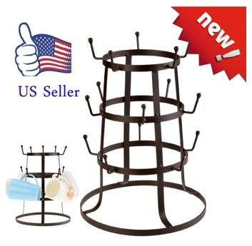 Unbrand Retro Rustic Iron Mug Cup Glass Bottle Organizer Tree Drying Rack Stand Cup Holder Otst Kitchen Cups Drying Rack Kitchen Mugs