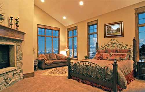 This Furniture Is Beautiful And The Mountains In The Window Is Just Awesome Tuscan Bedroom Luxurious Bedrooms Tuscan Decorating