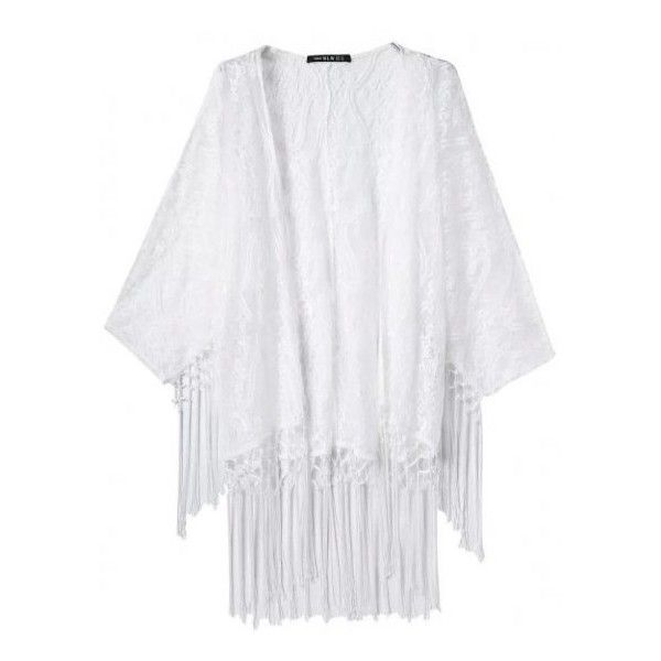 White Transparent Lace Sheer Tassels Bat Wing Sleeves Loose Fit ...