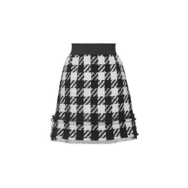 Dolce & Gabbana Macro houndstooth Tweed Mini Skirt ($945) ❤ liked on Polyvore featuring skirts, mini skirts, black and white a line skirt, short skirts, houndstooth skirt, short a line skirt and tweed skirt