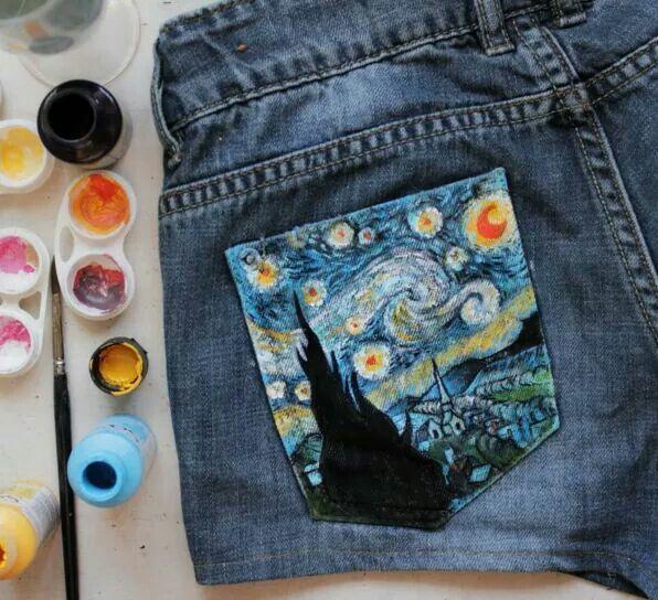 Starry night pocket! | DIY | Fashion, Painted jeans und ...