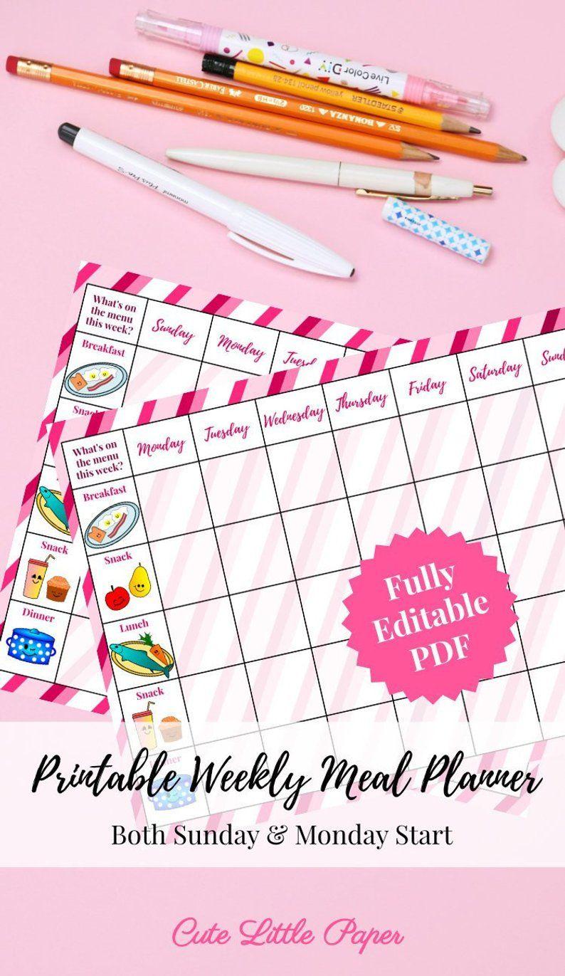 Printable Weekly Meal Planner Weekly meal planner, Meal