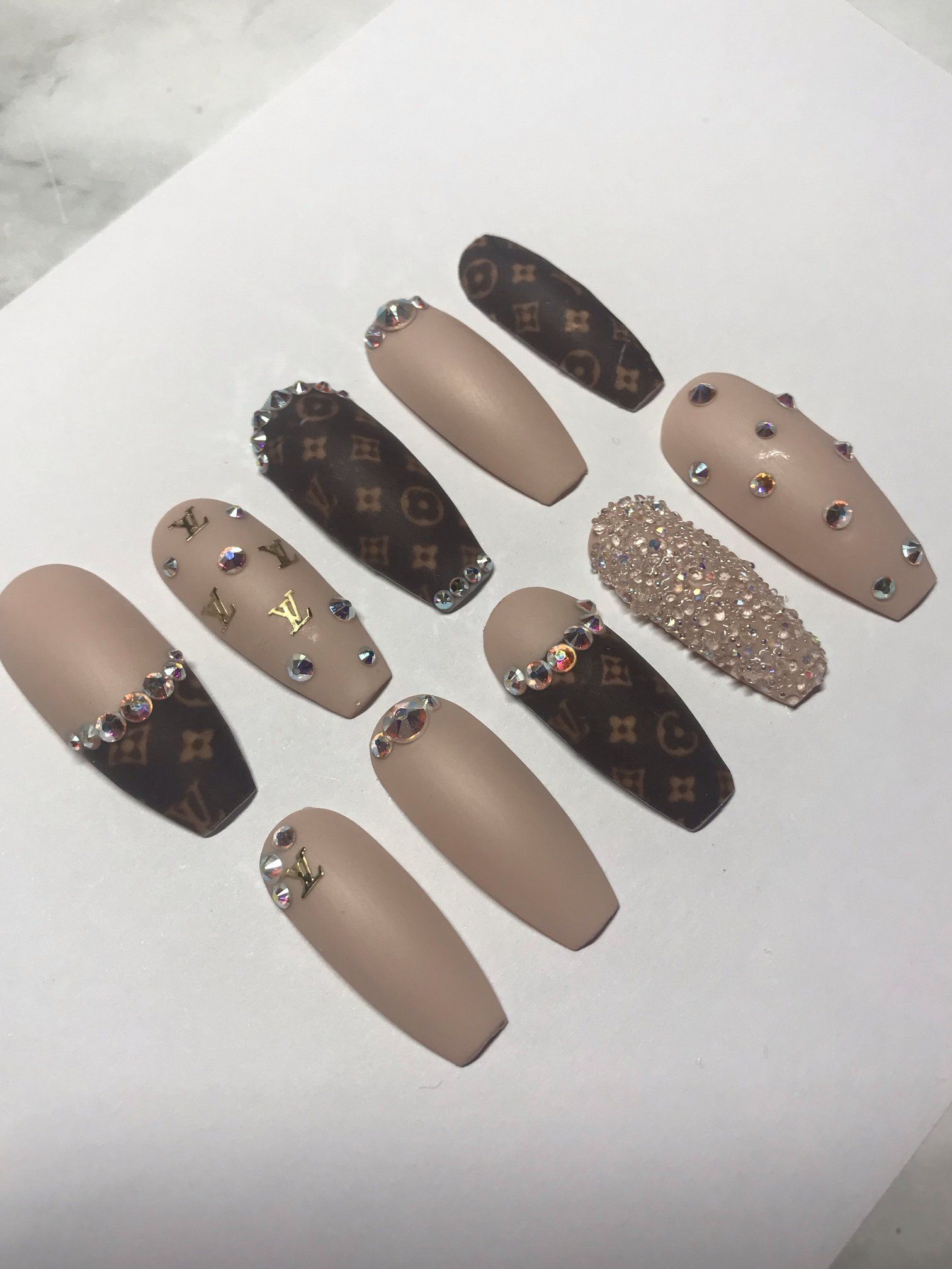 Handemade Louis Vuitton Waterslide Nail Decals With Accents Of Gold Lv S And Swarovski Crystals All Nails Are Sh Louis Vuitton Nails Gucci Nails Chanel Nails