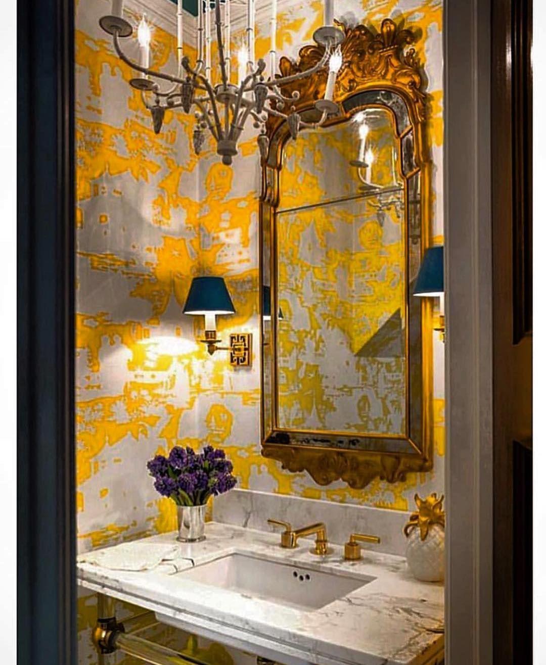 Scheffer Interiors Objetsd Art On Instagram Powder Room By Michael Maher Design Powderroom Powder Room Design Powder Room Wallpaper Relaxing Bathroom