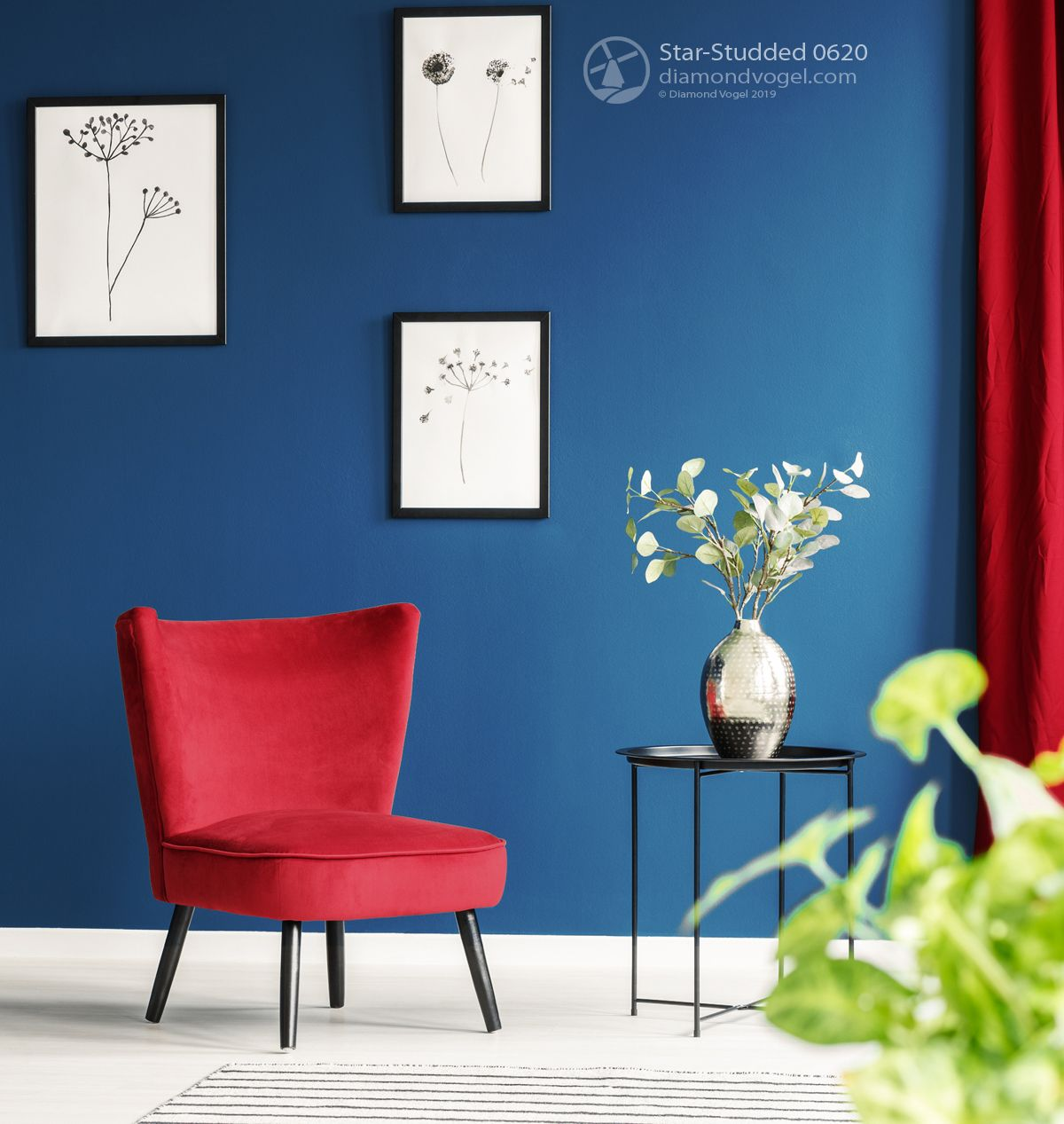 Blue And Red Interior With White Accents Blue Interior Paint