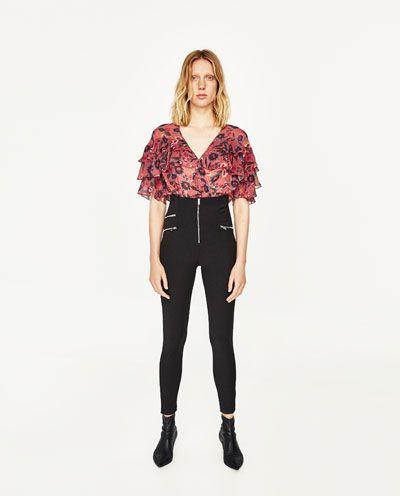 México All Body Camisas Mujer Zara De Blusas Flores Estampado wAxSaqz