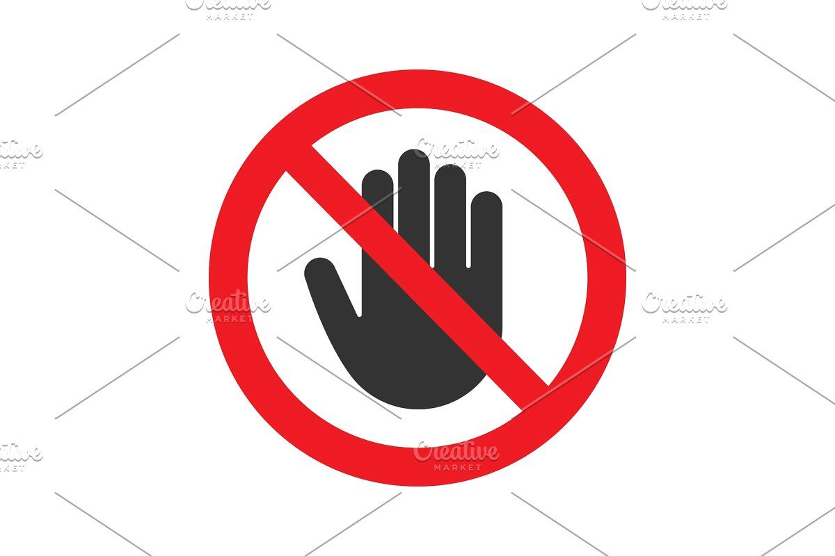 Forbidden Sign With Stop Hand Glyph Icon Glyph Icon Glyphs Icon