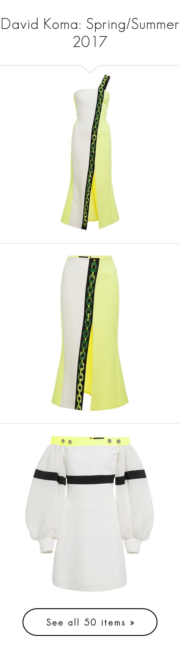 """David Koma: Spring/Summer 2017"" by livnd ❤ liked on Polyvore featuring davidkoma, springsummer2017, livndfashion, livnddavidkoma, dresses, david koma, yellow, white midi dress, yellow dress and strappy dress"