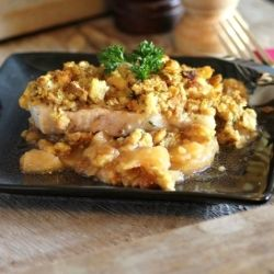 Three Ingredient Pork Chops - with stuffing and apple pie filling