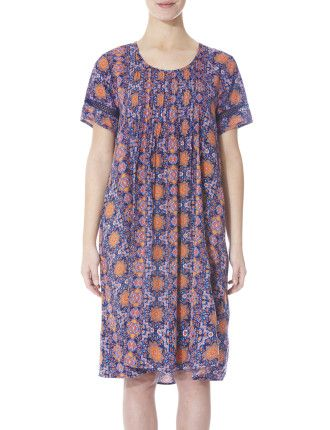 S'Slv Lace Trim Pintuck Dress