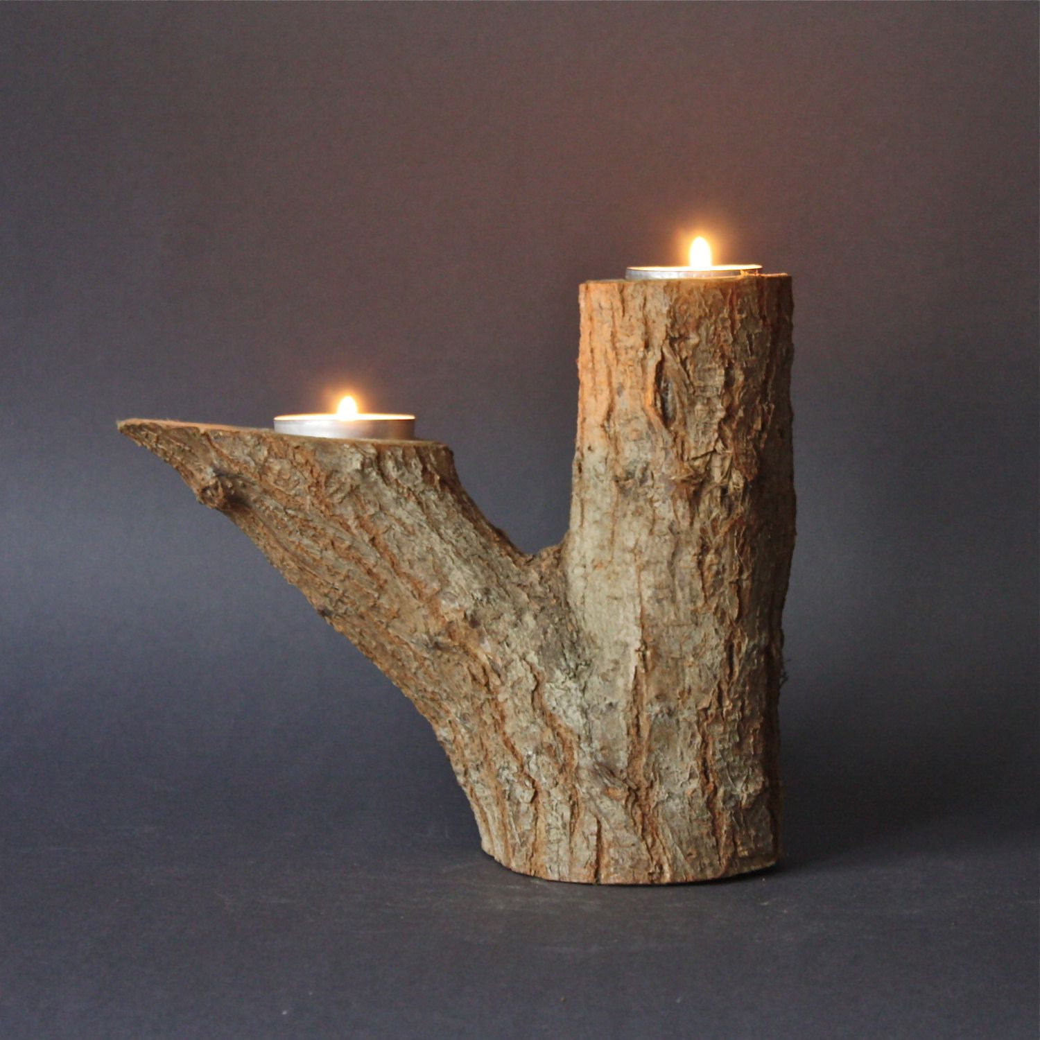 Rustic Wooden Tea Light Holder Free Shipping: Vintage Tree Branch Natural Wood Double Candle Holder