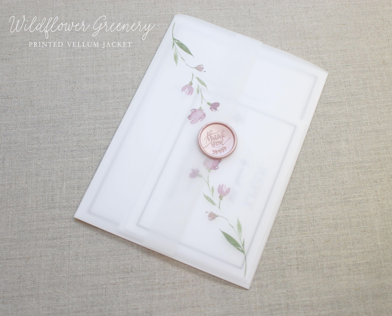 Vellum Jacket With Flowers 5 X 7 Vellum Wrap Greenery Vellum Jacket Wildflower Design Printed Vellum Jackets Wedding Invitations Diy Wedding Place Cards Prints