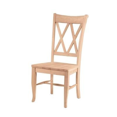 International Concepts Unfinished Wood Double X Back Dining Chair
