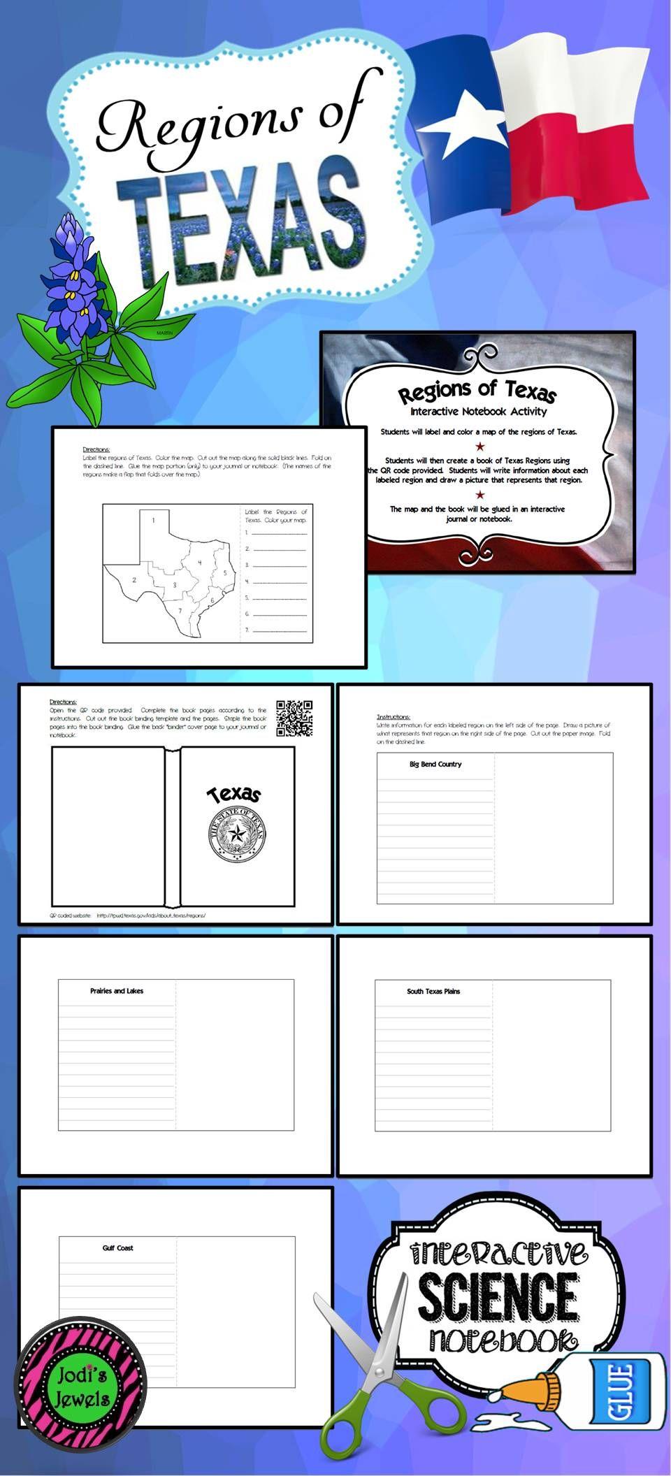 Complete Map Of Texas.Regions Of Texas Interactive Notebook Activity Homeschool Map