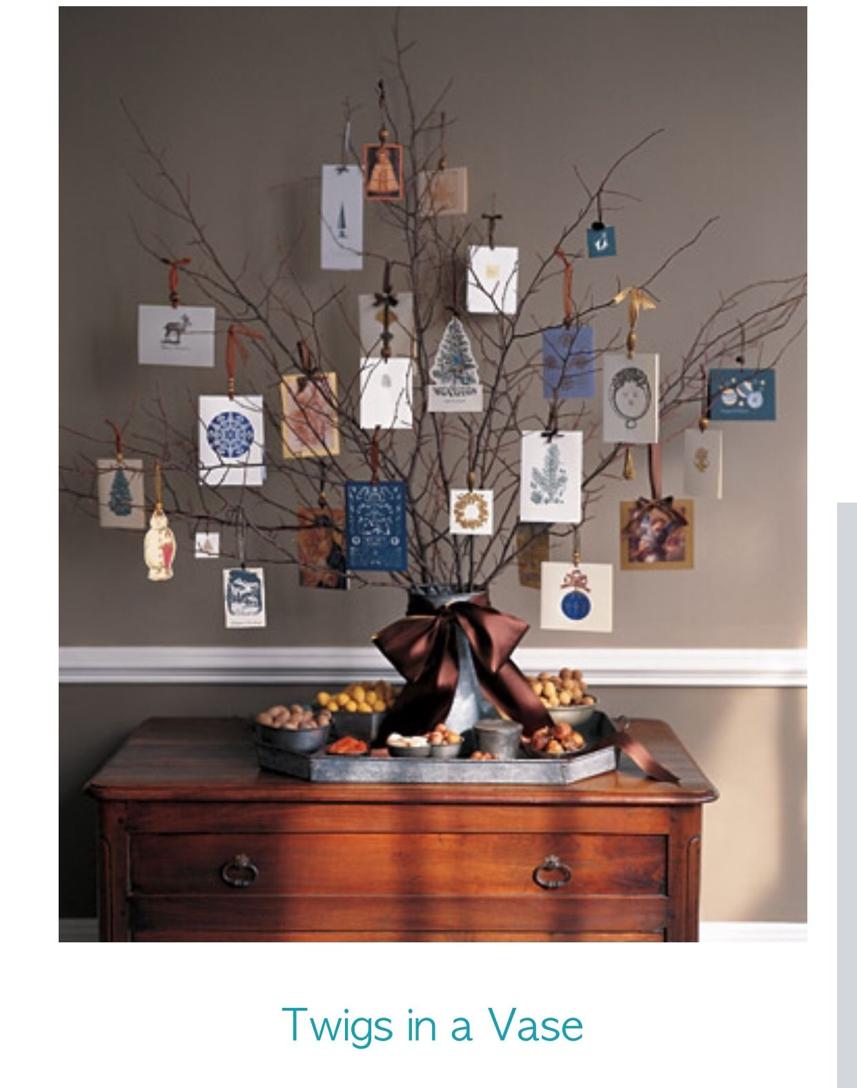 Christmas Card Tree Display The Cards You Receive From Family And Friends  By Hanging Them Like Ornaments From Winter Berry Branches.