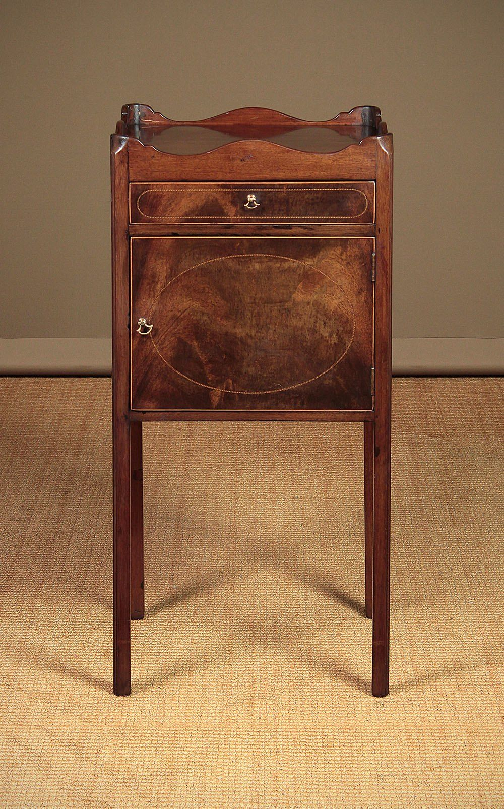 Old Bedside Table: George III Mahogany Bedside Table Or Night Stand