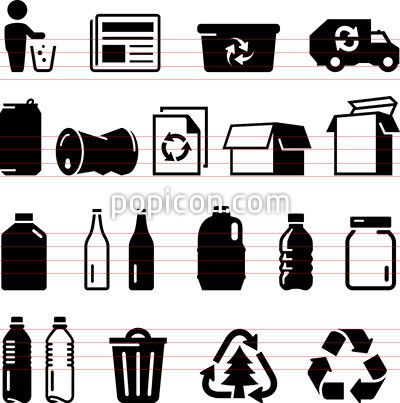 Recycling Icons Black Series Recycle Logo Pictogram Icon Set