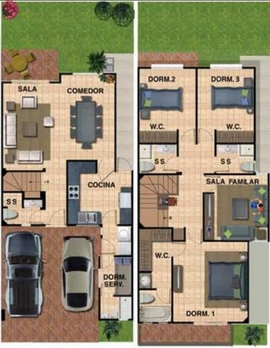 planos de casas 4 dormitorios 2 plantas