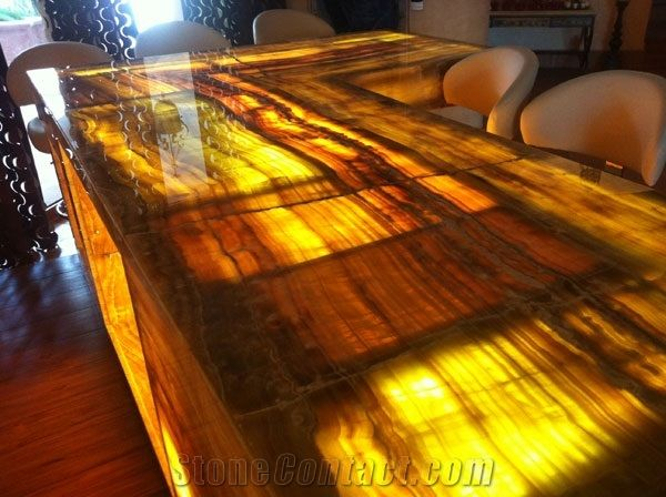 Backlit Onyx Bar Top Design, Yellow Onyx Bar Top