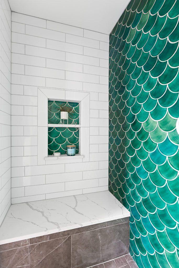 Handmade Ceramic Bathroom Tile Projects By Mercury Mosaics Tile Bathroom Fish Scale Tile Bathroom Unique Bathroom Tiles