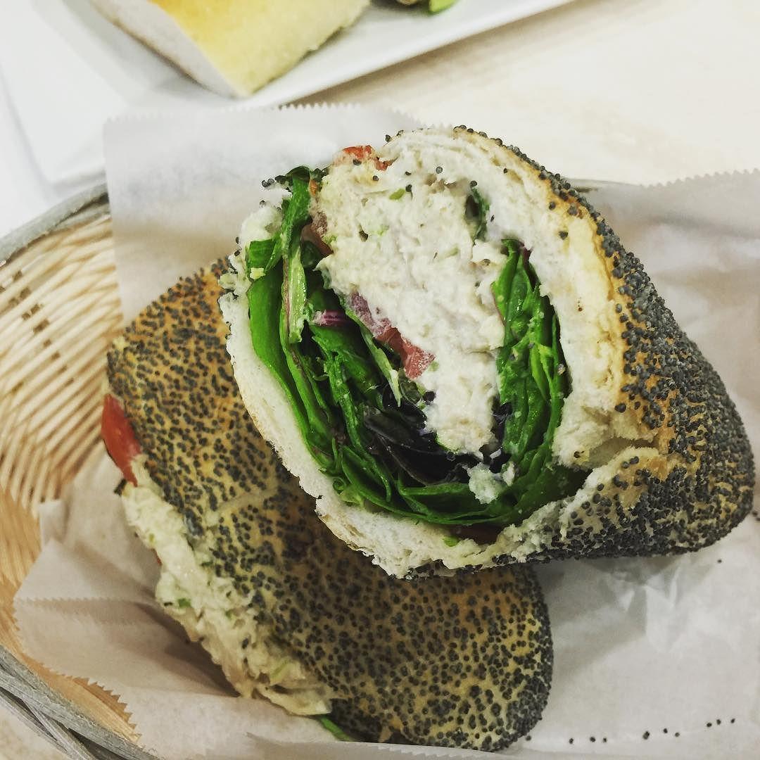 A #DELICIOUS tuna sandwich on a fresh baked baguette...straight from #miami #beach #ocean !! #lookatthatlettuce