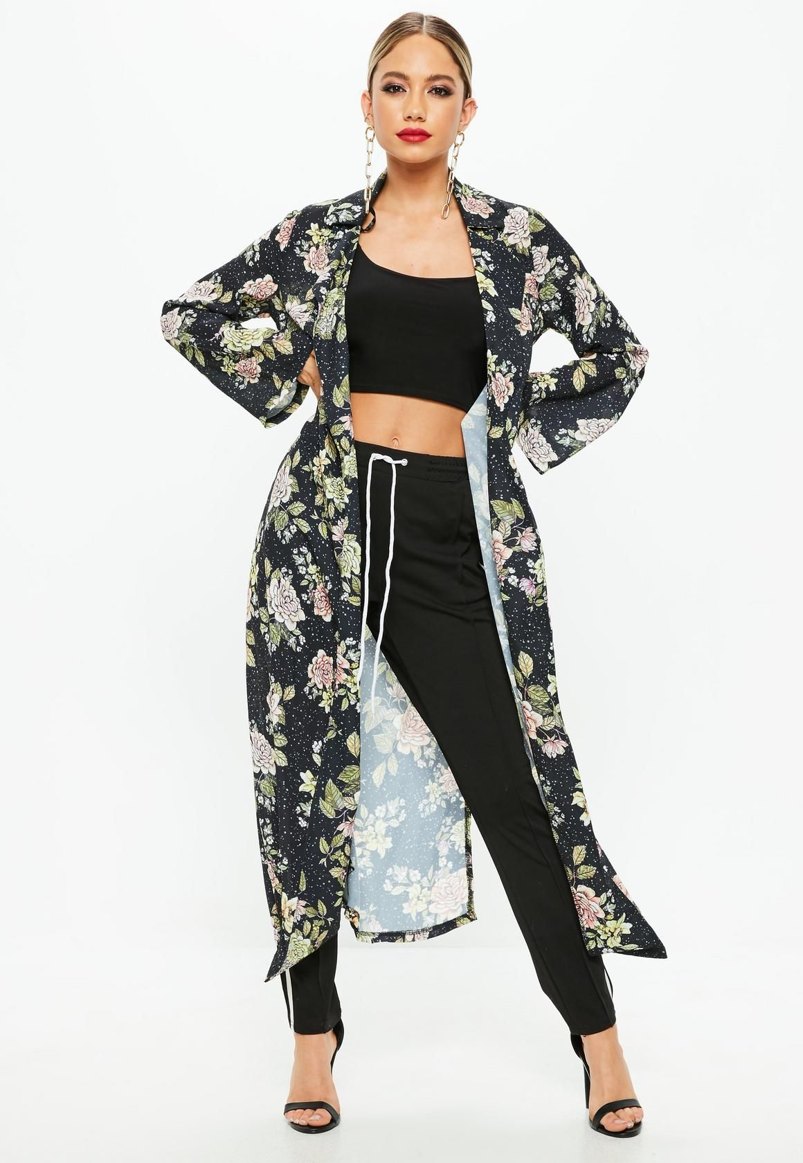 Missguided Navy Dark Floral Duster Jacket Coats for