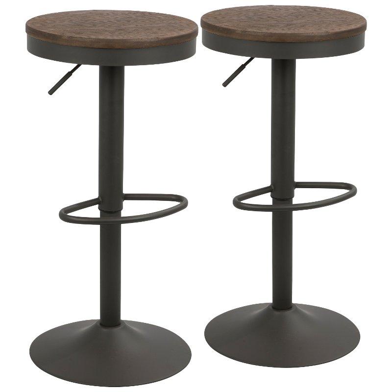 Gray And Brown Round Adjustable Bar Stool Set Of 2 Dakota