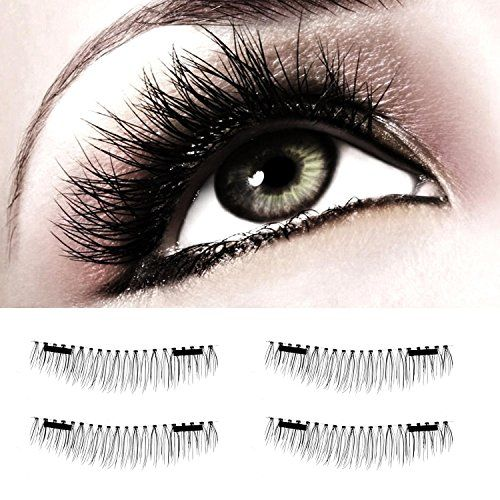 35690644c85 Leegoal(TM) False Magnet Eyelashes, Magnetic Fake Eye Lashes, 1 Pair (4  Pieces) Ultra Thin 3D Fiber Reusable Natural Handmade Extension Fake Eye  Lashes