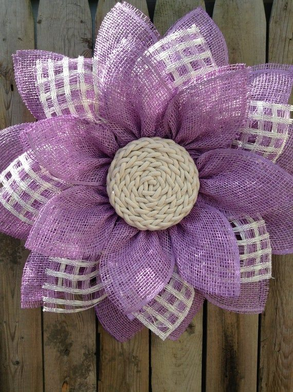 Photo of Purple Spring Flower Wreath, Everyday Wreath, Burlap Flower Wreath, Year Round Front Door Wreath, Spring Wreath, Summer Wreath