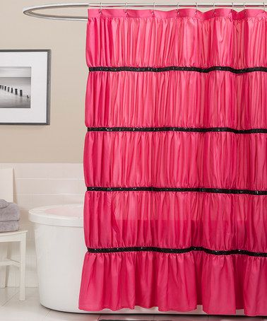 Pink Black Twinkle Shower Curtain By Triangle Home Fashions On Zulily Today Awesome Ruffle CurtainsCloset Door