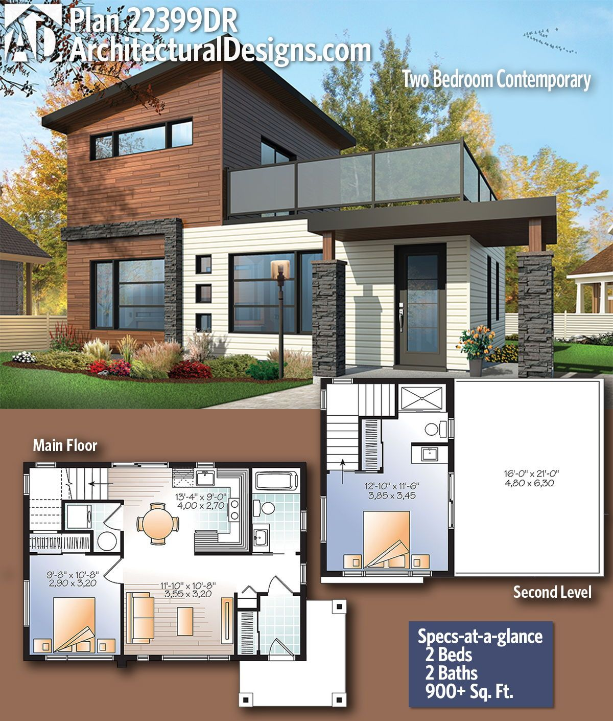 Plan 22399dr Two Bedroom Contemporary Architectural Design House Plans Modern House Plans Small Modern House Plans