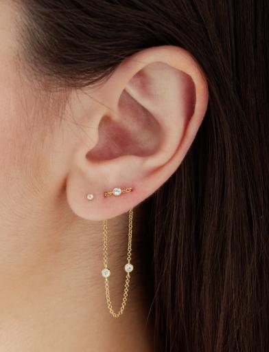 1 Chain 2 Scalloped Diamond Two Earring Back Earlobe Earrings