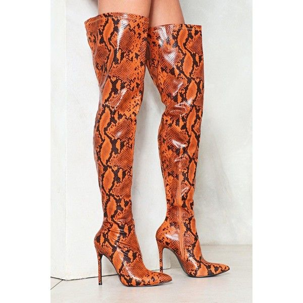 49d735c6cf2 Nasty Gal Snake a Stand Over-the-Knee Boot ( 120) ❤ liked on Polyvore  featuring shoes