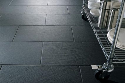 Dark Gray Flat Kitchen Floor Tile With