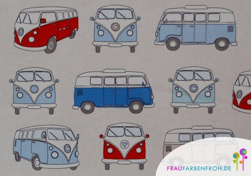 stoff autos wachstuch campervan bulli blau rot ein. Black Bedroom Furniture Sets. Home Design Ideas