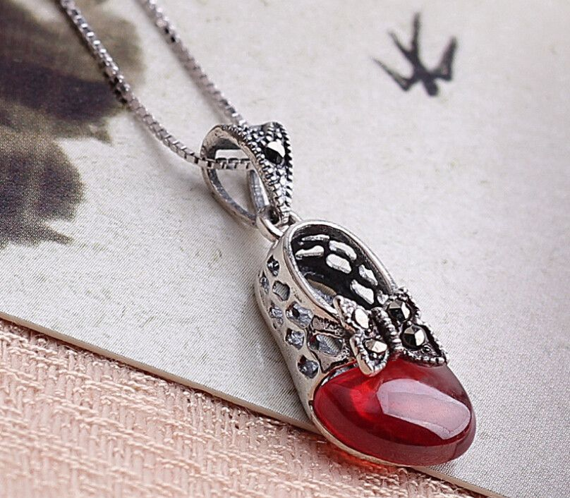 Shoe Garnet Necklace (sterling 925 silver - January birthstone)