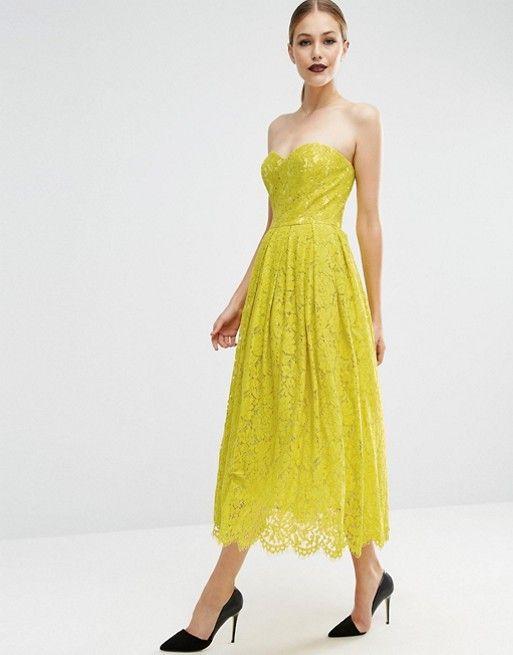 Yellow lace bandeau dress pattern