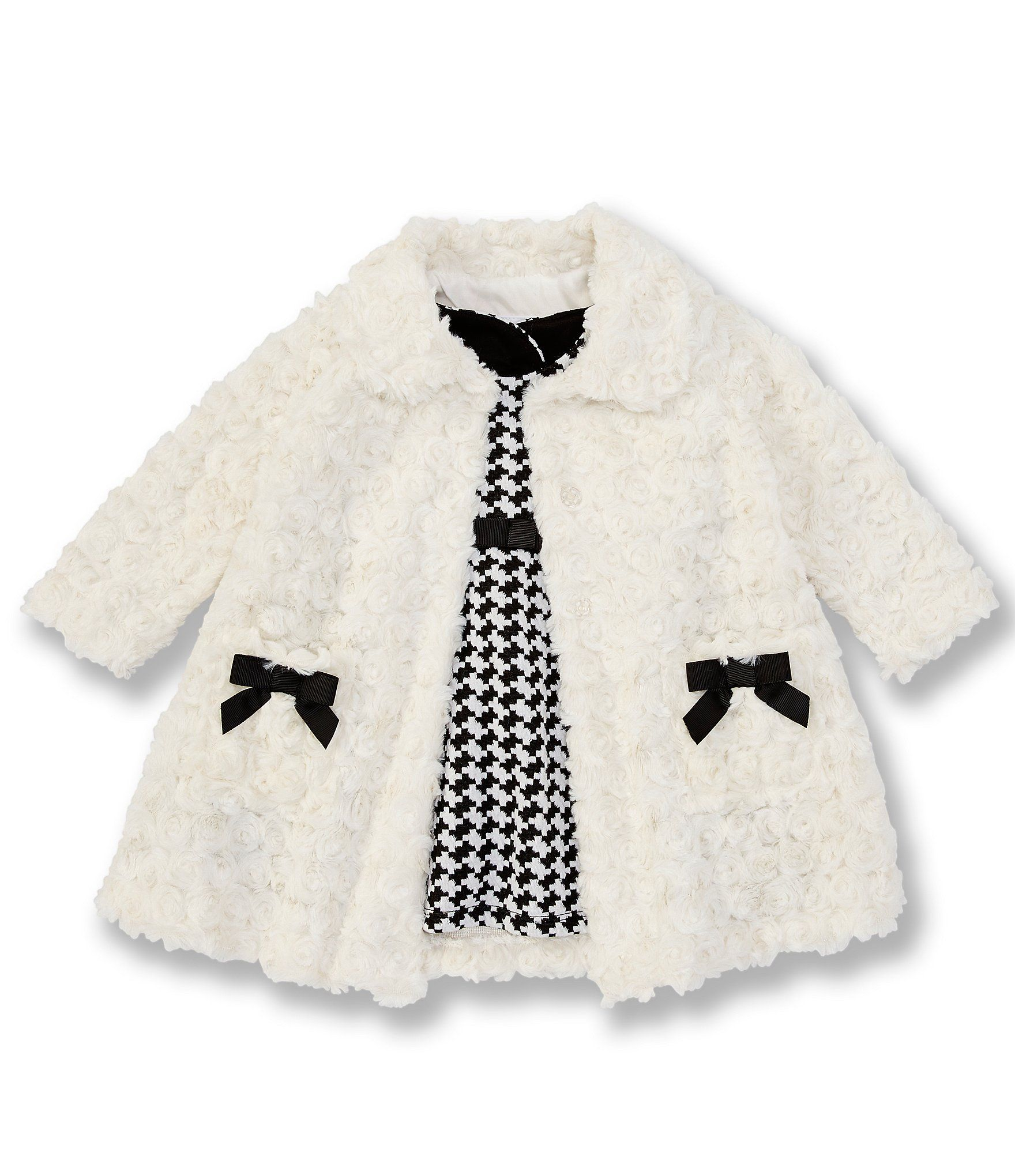 Photo of Bonnie Jean Baby Girls Newborn-24 Months Faux-Fur Jacket  Double-Knit Fit-And-Flare Dress Set – Ivory 0
