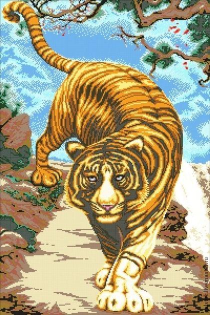 """Схема для вышивания бисером """"Важный тигр"""" полная зашивка ..."""