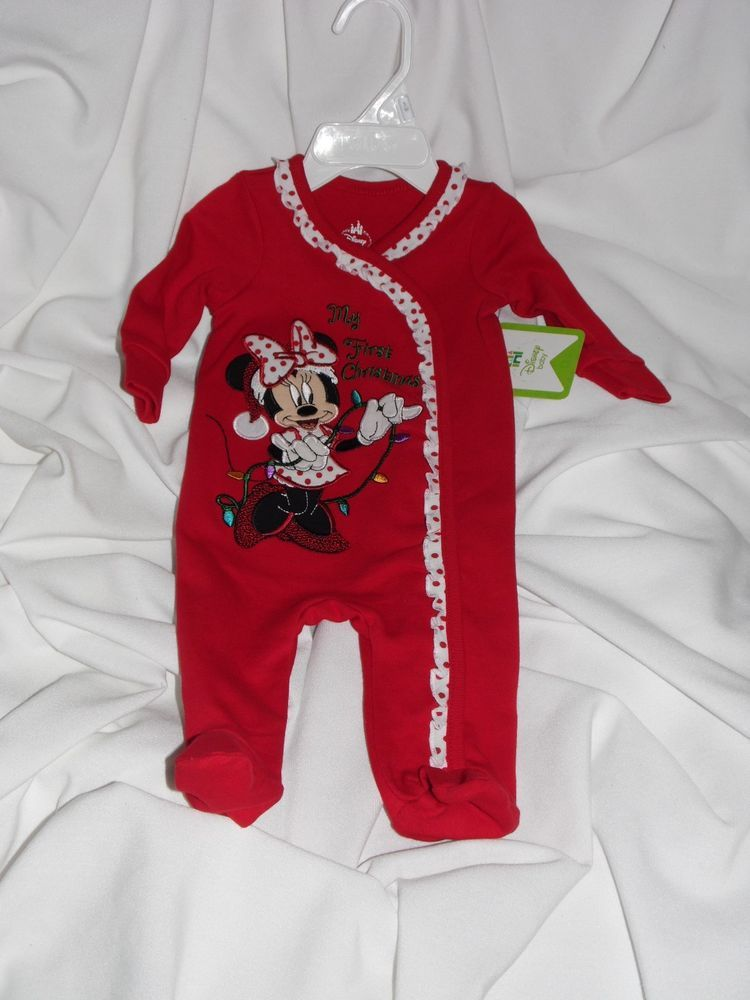 7b928def8 Disney Baby Minnie Mouse Infant Girl Footed Sleeper 3 Month MY FIRST  CHRISTMAS