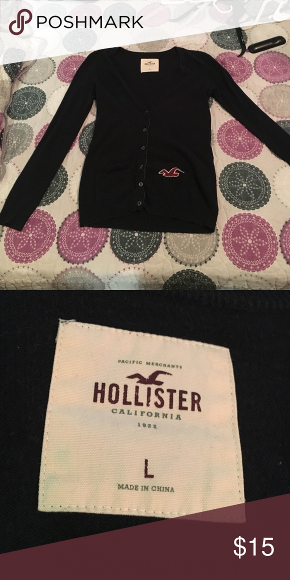 Long sleeve, navy blue sweater Only worn a couple of times, I'm too small for it now, just trying to get rid of it! Hollister Sweaters V-Necks