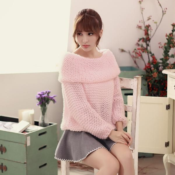 Japanese Style - Collar strapless loose mohair sweater ...