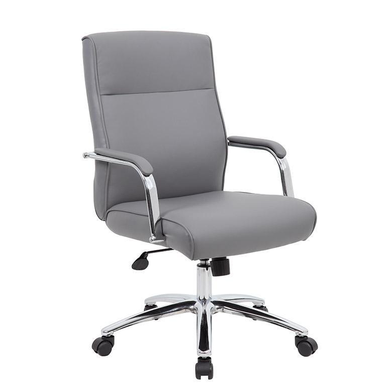 Rectangular Grey Faux Leather Chrome Ergonomic Office Chair Modern Office Chair Cheap Office Chairs Ergonomic Office Chair