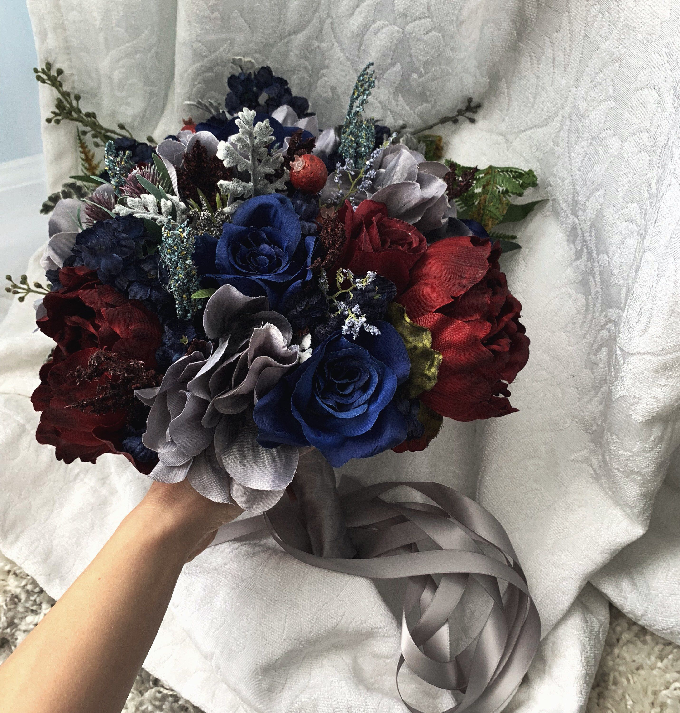 Wedding Bouquet Burgundy Navy Blue Red Peony Steel Silver